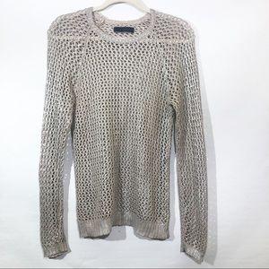 Anthro | Velvet Open Crochet Pullover